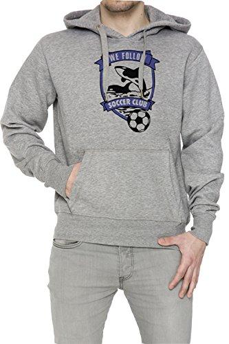 We Follow Soccer Club Uomo Grigio Felpa Felpa Con Cappuccio Pullover Grey Men's Sweatshirt Pullover Hoodie