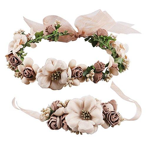 Frauen Mädchen Blumenkranz Blumenstirnband Blumenkrone Haarkranz Garland Halo mit Floral-Handgelenk-Band für Braut Fotografie Hochzeit Festival Kaffee -