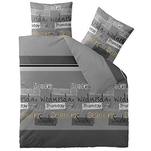 CelinaTex Fashion Bettwäsche 200 x 200 cm 3teilig Baumwolle Crazy Wörter Streifen Grau Schwarz Weiß