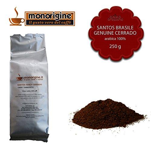Caffè Arabica macinato fresco per espresso Santos Brasile Genuine Cerrado 250 gr - Caffè Monorigine Arabica 100%