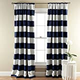Half Moon Stripe Blackout Window Curtain Set by Lush Decor
