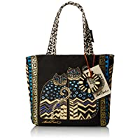 Laurel Burch 9 x 9 x 3-inch Spotted Cats Medium Tote with Zipper Top