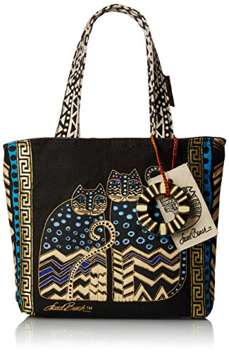 laurel-burch-9-x-9-x-3-inch-spotted-cats-medium-tote-with-zipper-top