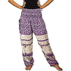 Lofbaz las mujeres Pantalones Harem Boho de cintura alforzada del Flaral Elefante Morado talla única