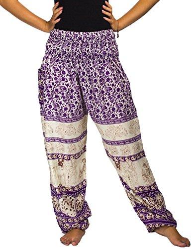 Lofbaz Mujer Smocked Cintura Harén Pantalones Floral Elefante Morado S