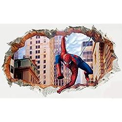 Etiqueta de la pared (Spiderman Zooms In) - pared roto / agujero en la pared / Pared Smashed 3D Mirar - Decoración de pared para dormitorio / sala de estar / Kids Room - Pelar y pegar Bricolaje - autoadhesivo vinilo Decal