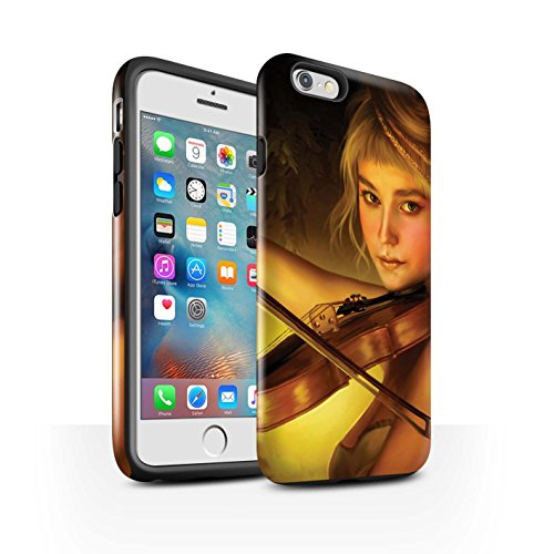 Officiel Elena Dudina Coque / Brillant Robuste Antichoc Etui pour Apple iPhone 6+/Plus 5.5 / Violoncelle/Nuages Design / Réconfort Musique Collection Beauté/Violon