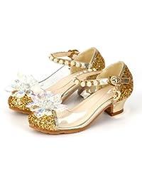 YOGLY Zapatos para Niñas Princesa Zapatos Tacones Altos Baile Zapatos de Diamantes de Imitación ...