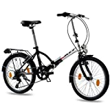 20 inch FOLDING BIKE CITY BIKE FOLDO 6 speed SHIMANO Unisex bike - black white (sw)