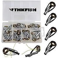 THKFISH Kit de Reparación de Caña de Pescar, 30 Piezas de Anillo de Cerámica Dorada para Pescar en el Mar y Agua Salada, Kit de Reparación de Puntas