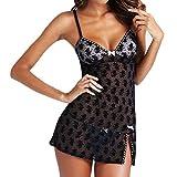 Gemini_mall® Women's Sexy Lingerie Set Babydoll Lace Splice Chemise Sleepwear Night Dress+G-string (S, Black)