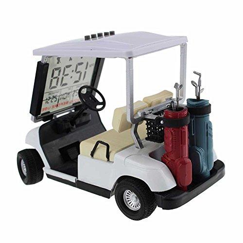 Crestgolf Weiss Mini Golf Cart Alarm Uhr Miniatur Golf Buggy 1