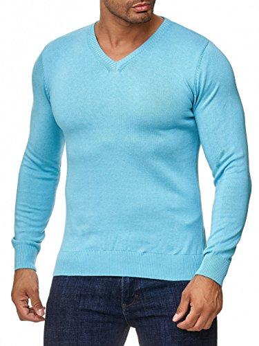 MOKIES Herren Pullover mit V-Ausschnitt - Modern-Fit - Hochwertige Baumwollmischung - Feinstrick-Pullover - Türkis XL