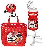 Unbekannt Set: Fahrradkorb + Fahrradflasche + Fahrradklingel - Disney Minnie Mouse - incl. Name - universal auch für Roller und Dreirad Laufrad / Kinderfahrrad Kinder -..