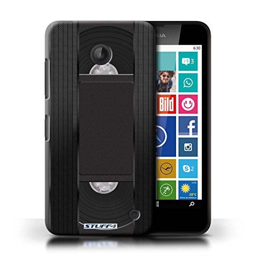 Kobalt® Imprimé Etui / Coque pour Nokia Lumia 635 / Compact Cassette Audio conception / Série Retro Tech Cassette Vidéo VHS