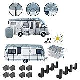 Wohnwagen & Wohnmobil Schutzdach Winter geeignet 160 Gramm 3 Lagen + 8er Set Schutzecken & Abstandshalter (6 Meter)