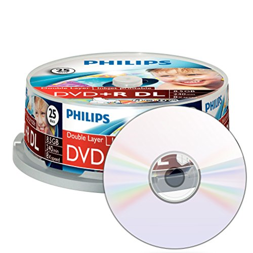 Philips DVD+R Rohlinge (8.5 GB Data/ 240 Minutes vidéo, 8 x High Speed Enregistrement, 10 x Broches, Double Layer DL) 25er Printable