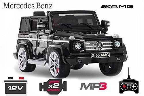 Lizenz Kinderauto Mercedes - Benz G55 AMG // 2 x 35W 12V MP3 RC Elektroauto Kinderfahrzeug Ferngesteuert Elektro Auto (Weiss) 1191153