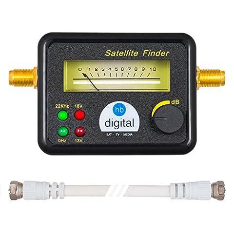 HB DIGITAL SATFINDER mit 4 LED analoger Anzeige, vergoldeten Anschlüssen und Tonsignal + F-Verbindungskabel + Deutsche