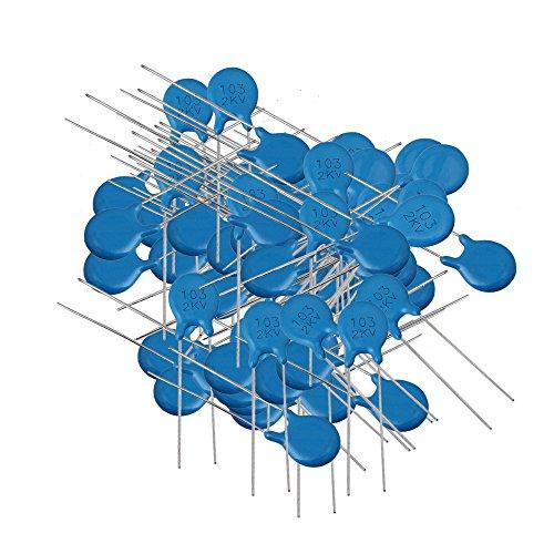 100pcs 10nF 2KV 103M Hochspannung Disc Keramik Kondensator 2000V Blau(72041) -