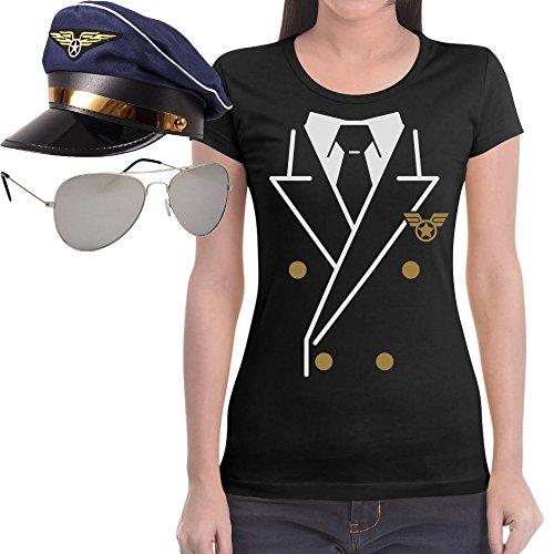 Pilot Damen Karnevalsverkleidung SHIRT + BRILLE + HUT Frauen T-Shirt Slim Fit Schwarz