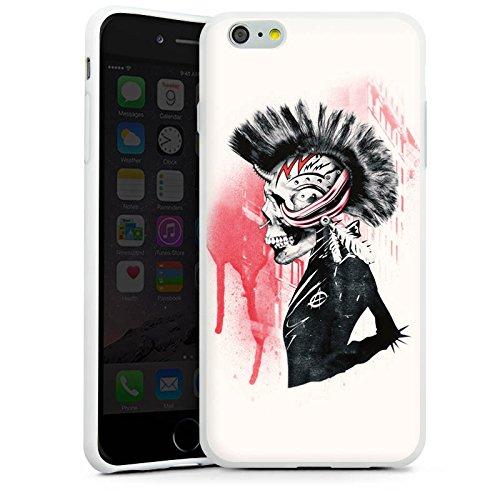 Apple iPhone X Silikon Hülle Case Schutzhülle Punk Totenkopf Skull Silikon Case weiß
