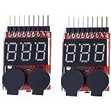 [2 Pack] KIMILAR RC Lipo Akku Niederspannung Tester Checker 1 s-8 s Summer Alarm mit LED-Anzeige für RC Hubschrauber Quadrocopter