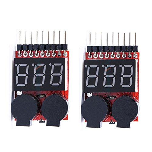 Preisvergleich Produktbild [2 Pack] KIMILAR RC Lipo Akku Niederspannung Tester Checker 1 s-8 s Summer Alarm mit LED-Anzeige für RC Hubschrauber Quadrocopter