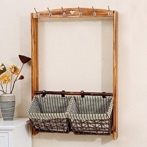 Festes Holz-Wand-Speicher-Regal-sich hin- und herbewegendes Regal-Wohnzimmer-Schlafzimmer Multilayer-Rattan-Korb-Lagerungs-Regal kleiden Kappen-Lager-Gestell mit Haken (Größe: 93 * 64 * 11.5cm) ( Farbe : #3 ) (Rattan-speicher-körbe)