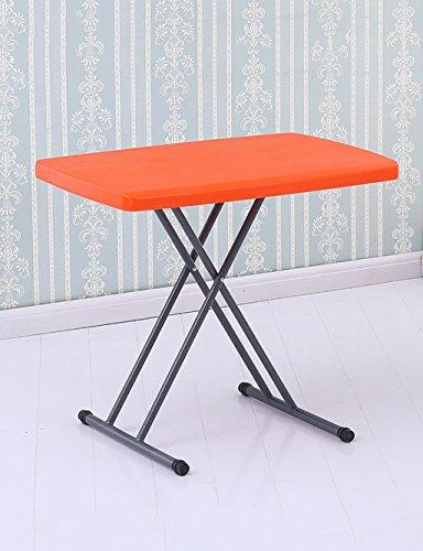 Einfache Haushalt Klapptisch Esstisch Studiertische Computertische Outdoor Picknick-Tische mit Einstellbarer Höhe (5 Farben optional) (Farbe : Orange, größe : W*H:50 * 76cm) -