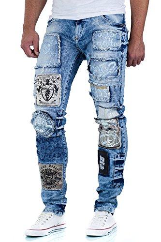 Cipo & Baxx Herren Jeans Hose Freizeit Aufnäher Patches Zipper Clubwear Denim Blau
