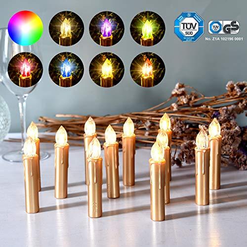 CCLIFE 20/30/40er LED Kerzen RGB Bunt Weihnachtsbaumkerzen weihnachtskerzen Christbaumkerzen Kabellos mit Fernbedienung Timer, Farbe:Gold, Größe:40 er