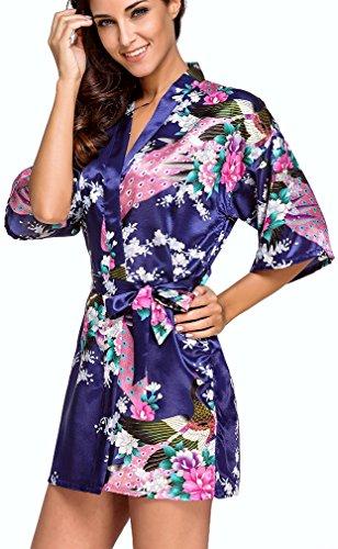 FLYCHEN Damen satin Morgenmantel Pfau und Blüten japanische kurze Kimonos Dunkelblau-7