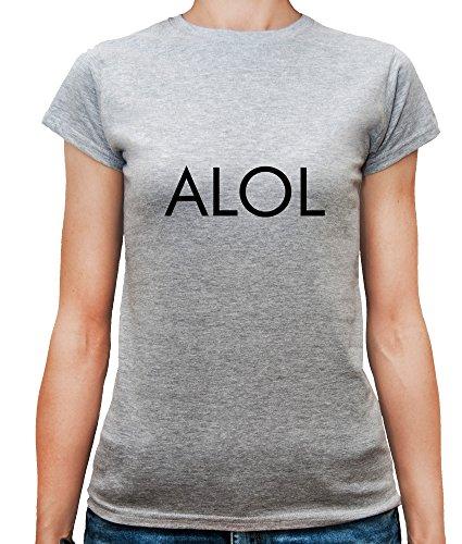Mesdames T-Shirt avec Actually Laughing Out Loud ALOL Funny Phrase Slogan imprimé. Gris