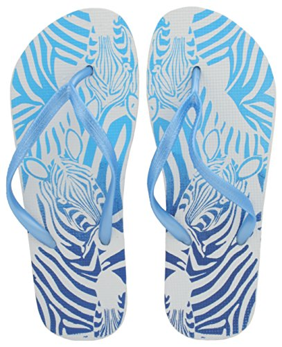 Sandrocks Ladies Zebra Stampa Flip Flop Blue