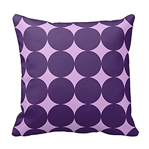 Purple Two Tone Dots Circles Pattern Square Decorative Throw Pillow Case Cushion Cover 18X18 Inch Zippered (Two Sides)