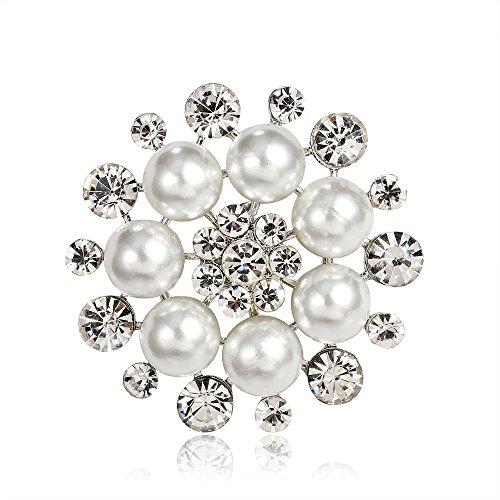 Ecloud Shop® Broche de style simple imitation perle strass broche pour les femmes décoration (blanc)