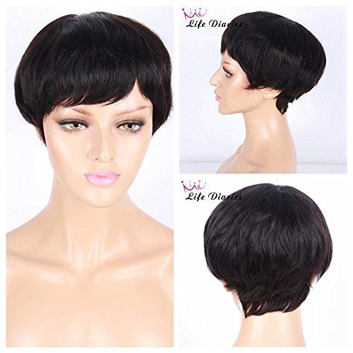 Life Diaries Perruque 100% cheveux humains, courte, dentelle, couleur nature, ondulée, sans colle, peut être teinte, pour femme, 20,3 cm
