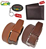 #8: Elligator Classic Men's Synthetic Leather Belt ,Wallet With Key Chain Combo for Men's(Two Belt,One Wallet With One KeyChain)