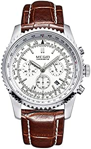 Megir Mens Quartz Watch, Chronograph Display and Leather Strap - 2009