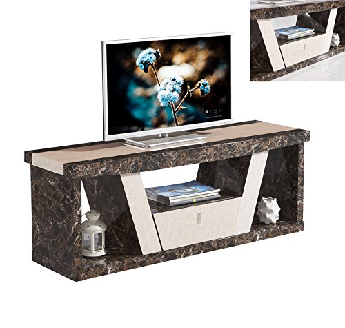 7star Marble Effect Roni Tv Unit In Black And Brown