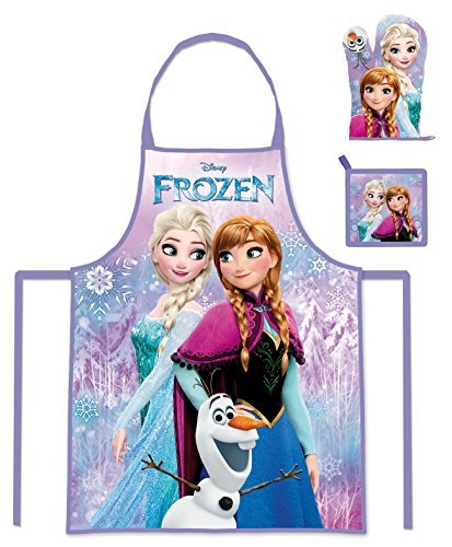 Walt Disney Frozen Die Eiskönigin (101343) Kinder Koch-Set Kochschürze, Topfhandschuh und Topflappen, (Kostüm Kristoff Und Elsa)