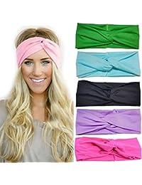 Las vendas de la torcedura turbante SWEETBB Amplia de la torcedura del abrigo de pelo con el color del caramelo y el estilo retro - 6 Pack