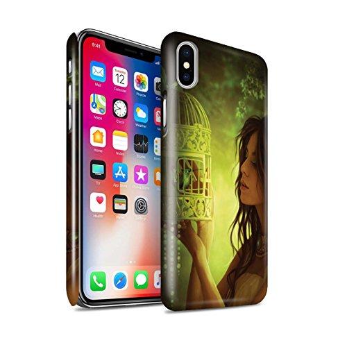 Officiel Elena Dudina Coque / Clipser Brillant Etui pour Apple iPhone X/10 / Oiseaux Libres/Vitrail Design / Les Oiseaux Collection Volons-Nous/Cage