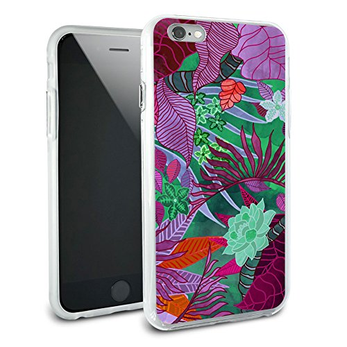 Tropical Forest magenta purple Blaugrün Schutzhülle Slim Hybrid Gummi Bumper Hülle für Apple iPhone 6 6S Plus