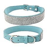 Balock Schuhe Pet Puppy Dog Kragen,Einstellbare Leder Niet Halsband,Spiked Studded Welpen-Hundehalsband-Halsband,für Mittelgroße Hunde (Hellblau, S)