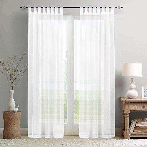 TOPICK Transparent Voile Gardinen Vorhänge für Wohnzimmer mit Stangendurchzug, 245 x 140 cm(H x B), 2 Stücke,Weiß