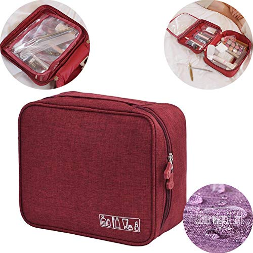 Beauty Case da Viaggio Borsa da Toilette Borsa da Viaggio Impemeabile Ripiegabile Cosmetico Bag per Donna & Uomo , Adatto Per Cosmetici, Rasatura, Accesori da viaggio,Cosmetico Bag Impemeabile,winered