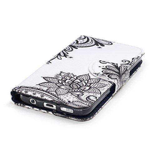 Schutzhülle für Galaxy S7,Galaxy S7 Leder Wallet Tasche Brieftasche Schutzhülle,Hpory Schön Kreative 3D Glänzend Glitzer Windspiele Blumen Muster Ledertasche Brieftasche Handyhülle PU Leder Flip Hülle Schwarze Blume