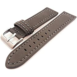 Grey Genuine Suede Leather Watch Strap Band 22mm